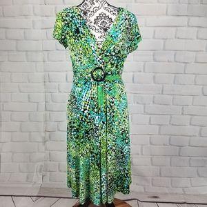 Sandra Darren size 10 short sleeve geo print dress